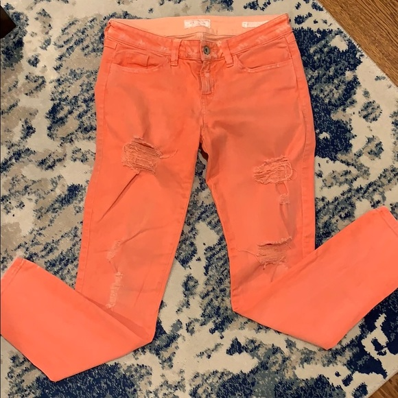 Guess Denim - Guess distressed women's orange skinny jeans